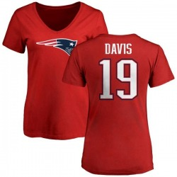 Women's Ryan Davis New England Patriots Name & Number Logo Slim Fit T-Shirt - Red
