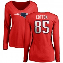 Women's Sam Cotton New England Patriots Name & Number Logo Slim Fit Long Sleeve T-Shirt - Red