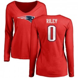 Women's Sean Riley New England Patriots Name & Number Logo Slim Fit Long Sleeve T-Shirt - Red