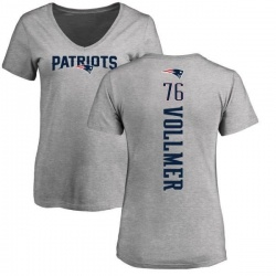 Women's Sebastian Vollmer New England Patriots Backer V-Neck T-Shirt - Ash