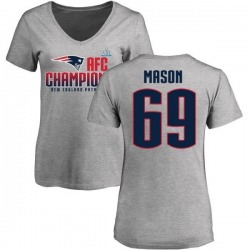 Women's Shaq Mason New England Patriots 2017 AFC Champions V-Neck T-Shirt - Heather Gray