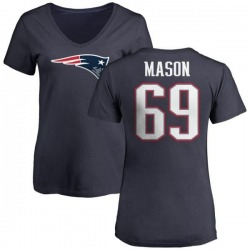 Women's Shaq Mason New England Patriots Name & Number Logo T-Shirt - Navy