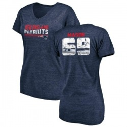 Women's Shaq Mason New England Patriots Retro Tri-Blend V-Neck T-Shirt - Navy