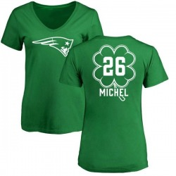 Women's Sony Michel New England Patriots Green St. Patrick's Day Name & Number V-Neck T-Shirt