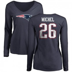 Women's Sony Michel New England Patriots Name & Number Logo Slim Fit Long Sleeve T-Shirt - Navy