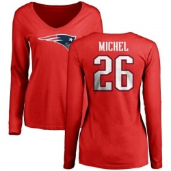 Women's Sony Michel New England Patriots Name & Number Logo Slim Fit Long Sleeve T-Shirt - Red