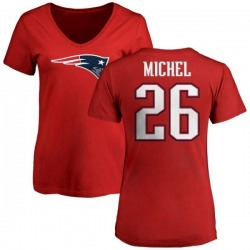 Women's Sony Michel New England Patriots Name & Number Logo Slim Fit T-Shirt - Red