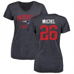 Women's Sony Michel New England Patriots Navy Distressed Name & Number Tri-Blend V-Neck T-Shirt