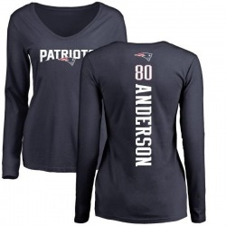Women's Stephen Anderson New England Patriots Backer Slim Fit Long Sleeve T-Shirt - Navy