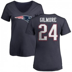 Women's Stephon Gilmore New England Patriots Name & Number Logo T-Shirt - Navy