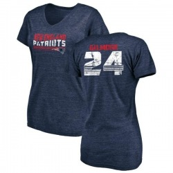 Women's Stephon Gilmore New England Patriots Retro Tri-Blend V-Neck T-Shirt - Navy