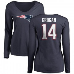 Women's Steve Grogan New England Patriots Name & Number Logo Slim Fit Long Sleeve T-Shirt - Navy