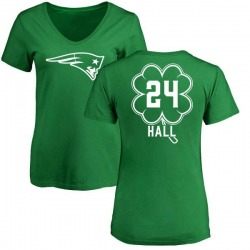 Women's Terez Hall New England Patriots Green St. Patrick's Day Name & Number V-Neck T-Shirt