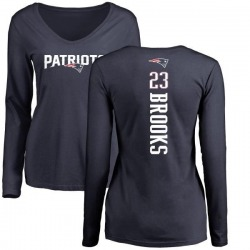 Women's Terrence Brooks New England Patriots Backer Slim Fit Long Sleeve T-Shirt - Navy