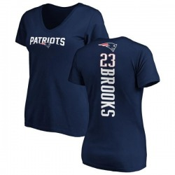 Women's Terrence Brooks New England Patriots Backer Slim Fit T-Shirt - Navy
