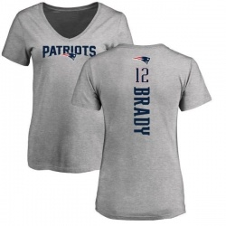 Women's Tom Brady New England Patriots Backer V-Neck T-Shirt - Ash