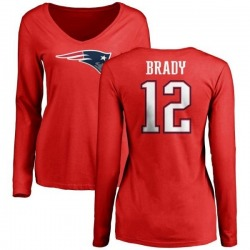 Women's Tom Brady New England Patriots Name & Number Logo Slim Fit Long Sleeve T-Shirt - Red