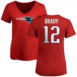Women's Tom Brady New England Patriots Name & Number Logo Slim Fit T-Shirt - Red