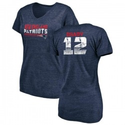 Women's Tom Brady New England Patriots Retro Tri-Blend V-Neck T-Shirt - Navy