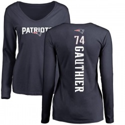 Women's Tyler Gauthier New England Patriots Backer Slim Fit Long Sleeve T-Shirt - Navy