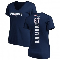 Women's Tyler Gauthier New England Patriots Backer Slim Fit T-Shirt - Navy