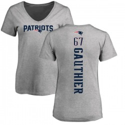 Women's Tyler Gauthier New England Patriots Backer V-Neck T-Shirt - Ash