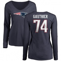 Women's Tyler Gauthier New England Patriots Name & Number Logo Slim Fit Long Sleeve T-Shirt - Navy