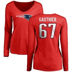 Women's Tyler Gauthier New England Patriots Name & Number Logo Slim Fit Long Sleeve T-Shirt - Red