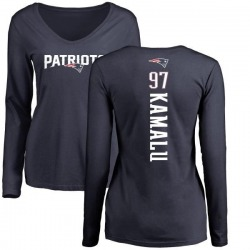 Women's Ufomba Kamalu New England Patriots Backer Slim Fit Long Sleeve T-Shirt - Navy