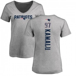 Women's Ufomba Kamalu New England Patriots Backer V-Neck T-Shirt - Ash