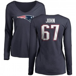 Women's Ulrick John New England Patriots Name & Number Logo Slim Fit Long Sleeve T-Shirt - Navy