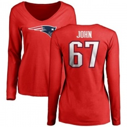 Women's Ulrick John New England Patriots Name & Number Logo Slim Fit Long Sleeve T-Shirt - Red
