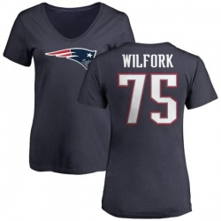 Women's Vince Wilfork New England Patriots Name & Number Logo T-Shirt - Navy