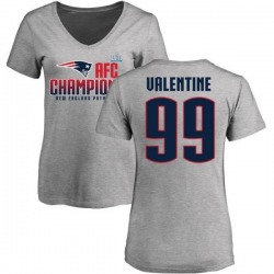 Women's Vincent Valentine New England Patriots 2017 AFC Champions V-Neck T-Shirt - Heather Gray