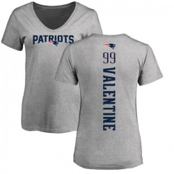 Women's Vincent Valentine New England Patriots Backer V-Neck T-Shirt - Ash