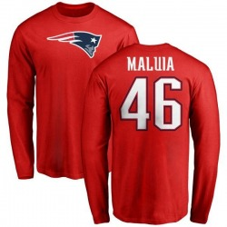 Youth Cassh Maluia New England Patriots Name & Number Logo Long Sleeve T-Shirt - Red
