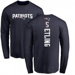 Youth Danny Etling New England Patriots Backer Long Sleeve T-Shirt - Navy
