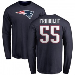 Youth Hjalte Froholdt New England Patriots Name & Number Logo Long Sleeve T-Shirt - Navy