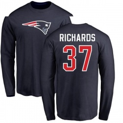 Youth Jordan Richards New England Patriots Name & Number Logo Long Sleeve T-Shirt - Navy