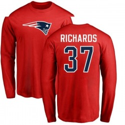 Youth Jordan Richards New England Patriots Name & Number Logo Long Sleeve T-Shirt - Red