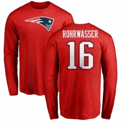 Youth Justin Rohrwasser New England Patriots Name & Number Logo Long Sleeve T-Shirt - Red