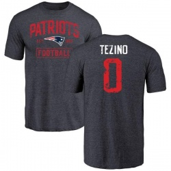 Youth Kyahva Tezino New England Patriots Navy Distressed Name & Number Tri-Blend T-Shirt