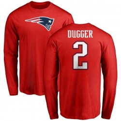 Youth Kyle Dugger New England Patriots Name & Number Logo Long Sleeve T-Shirt - Red