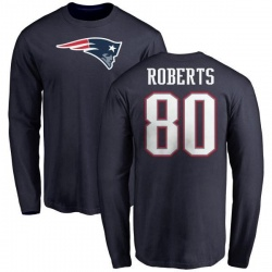 Youth Michael Roberts New England Patriots Name & Number Logo Long Sleeve T-Shirt - Navy