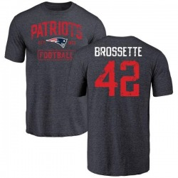 Youth Nick Brossette New England Patriots Navy Distressed Name & Number Tri-Blend T-Shirt