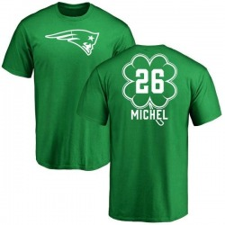 Youth Sony Michel New England Patriots Green St. Patrick's Day Name & Number T-Shirt