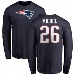 Youth Sony Michel New England Patriots Name & Number Logo Long Sleeve T-Shirt - Navy