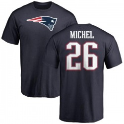 Youth Sony Michel New England Patriots Name & Number Logo T-Shirt - Navy