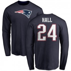 Youth Terez Hall New England Patriots Name & Number Logo Long Sleeve T-Shirt - Navy