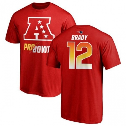 new style 7153a 4eda9 Youth Tom Brady New England Patriots AFC 2019 Pro Bowl Red Name & Number  T-Shirt